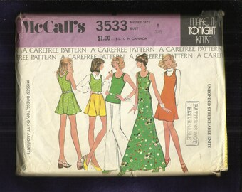 1973 McCalls 3533 Flared Tank Top or Dress with Cutaway Arms Pants & Skirt Sizes 8