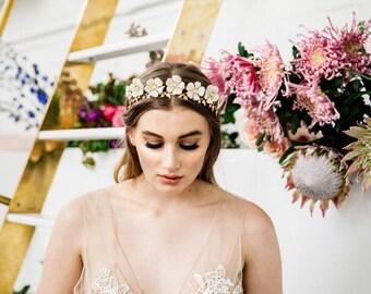 Wild Rose Tiara, flower Tiara, gold flower tiara, Gold Headpiece, flower crown, bridal tiara, leaf tiara, bohemian, white flower tiara #127