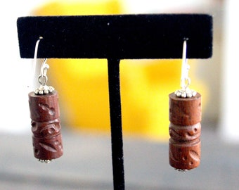 Handmade Upcycled Etched Wood Earrings- Cylinder