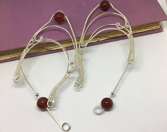 Elf Ear Jacket in silver with Red Jasper & metal beads, Elf Ear Jewelry, Elven Ear Jewelry, Elf Ear Cuff, Elf Ear Cuffs, Elven Ear Cuff,