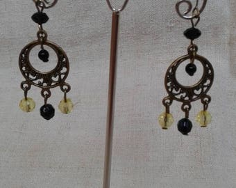 """yellow and black duo"" earrings"