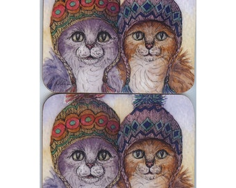 2 x tabby cat coasters ginger silver knitwear sisters cats in hats fair isle needlework needlewomen textile art knitting pattern stitches