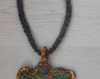 Necklace Freeform Crochet Sea Glass