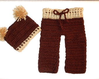 Crochet Baby Pants and Hat Set, Brown,Beige, Baby Shower Gift, Ready To Ship,