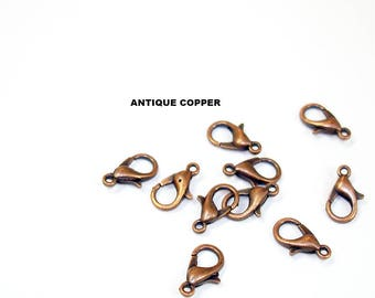 10PC-50PC. Lobster Claw Clasps Available in 8 Different Plated Finishes//Lobster Clasps In a variety of sizes and plated finishes