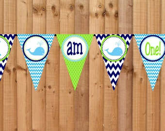 Whale High Chair Banner, I am One Banner, INSTANT DOWNLOAD Printable File, Whale I am One Bunting Banner, Pennant First Birthday High Chair