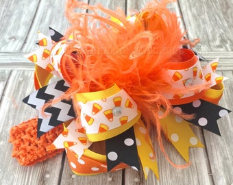 Candy Corn Over the Top Halloween Bow,Orange and Black Hair Bows,Halloween Baby Headband,Halloween Bows,Big Bows,Baby Hairbows,Girls Bows