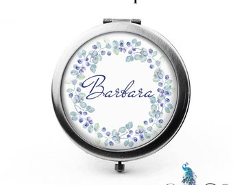 Custom Compact Mirror Watercolor Style Blueberry Leaves Floral Wreath The Barbara Bridesmaid Gifts Cosmetic Mirror Personalized Gifts
