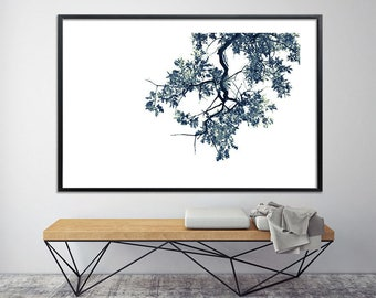 Modern oak tree print black and white above bed wall art poster up to 40X60, botanical wall decor tree art by Duealberi