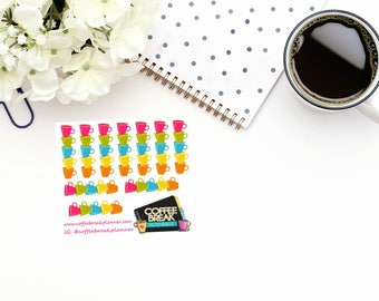 Planner Stickers   Coffee Cup Decorative Checklist Stickers  Coffee Cup Checklist Stickers Checklist Stickers Mini Sheet Coffee Cup Deco Chk