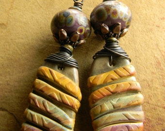 Tribal Jewelry Earrings Lampwork Polymer Clay Yellow Mauve Copper