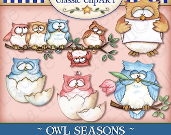 Owl Digital Art, Owl clipart, Laurie Furnell, owl printable, papercrafts, scrapbooking, All seasons clipart,