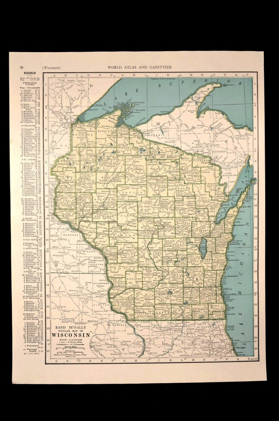 Wisconsin map wisconsin vintage blue green 1940s original gumiabroncs Images