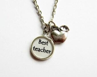 Teacher Necklace, Best Teacher Charm Necklace, Teacher Jewelry, Thank You Teacher Gift, Teacher Graduation, Apple Necklace, Apple Charm