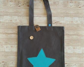 Tote bag. Dark grey with blue star