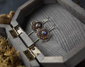 silver earrings Moonstone Lotus, Lotus Silver earrings,moonstone earrings boho,ethnic silver earrings Lotus