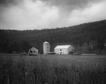 Farm Landscape Photography, Barn Print, Rustic Winter Photo, Minimalist Gray Wall Decor, Oldwick, NJ Photo