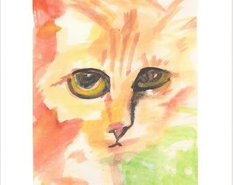 Sad Orange Cat print