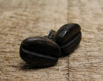 Coffee Bean Carved Ebony Wooden Nickel-free Surgical Stainless Steel Pad Stud Earrings by Tanja Sova