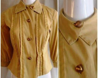 Vintage 1950s Cotton Blouse Long Sleeve Pleat Front Interesting Buttons Large 40 Bust