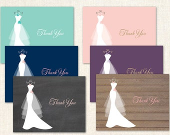 Bridal Dress Thank You Cards - Bridal Shower Thank You Cards - Set of 24 with envelopes