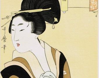 """Japanese Ukiyo-e Woodblock print, Utamaro, """"One of 12 Beauties"""""""
