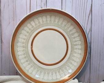 Vintage Platter Orange Stripe/Large/Round/Ironstone/Serving