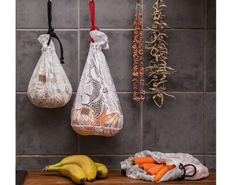 Zero Waste Bags, shopping bags, Upcycled food bag, Drawstring Bag, fabric bags, bulk bags, zero waste life, upcycled fabric,