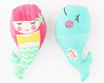 Flip Pals Double Sided Baby Rattle, Mermaid & Whale, handmade fabric softie toy