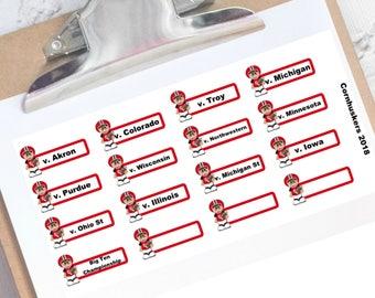 Nebraska football schedule planner stickers
