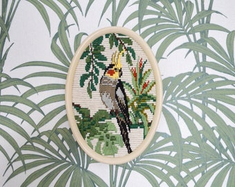 Tropical embroidery with cockatoo bird and plants, boho home decor picture Vintage