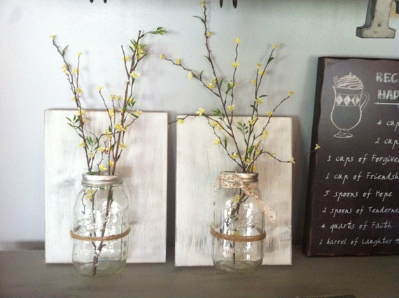 Mason Jar Wall Decor Hanging Mason Jar Wall Vase Rustic