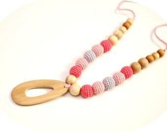 Nursing Linen Necklace - Juniper Breastfeeding Necklace, Baby Teether, Eco - Friendly Wooden Pendant  gradation pink