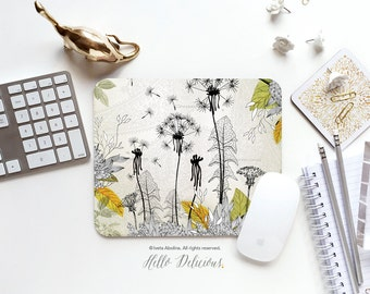 """Floral Mousepad """"Little Dandelion"""" by Iveta Abolina Mousepad Mouse Mat Floral Mouse Pad Office Mousemat Dandelion Heart Mousepad I20"""