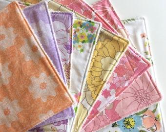 Wash Cloth / Reuseable Paper Towels / Burp Cloths - Unbleached Organic Cotton Towelling - Organic