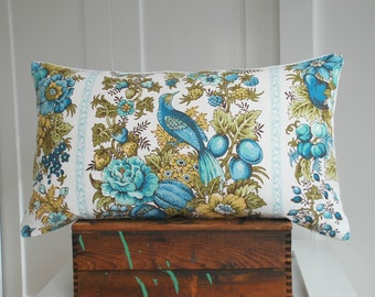 vintage Waverly fabric 14x24 pillow cover by Mary Gamelin / vintage fabric / bird pillow cover / turquoise / white / spring decor / home