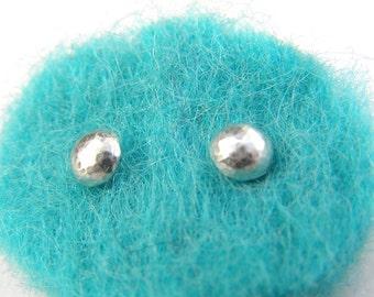 Sterling silver hammered dome stud earrings, small silver studs, hammered silver, silver stud earrings, handmade earrings,