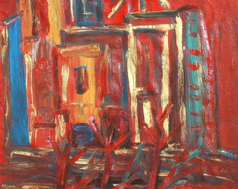Vintage oil painting expressionism landscape
