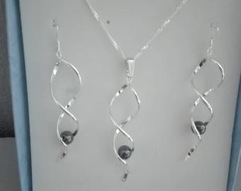 adornment necklace and earrings Hematite 925 Silver spiral jewelry set / pearls, white, turquoise, black, Red