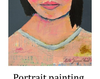 Art on Sale. Acrylic Woman Fauvism Portrait Painting. Ready To Ship. Bedroom Wall Art. Pink & Gray Home Wall Art Decor. Friend Gift for Her