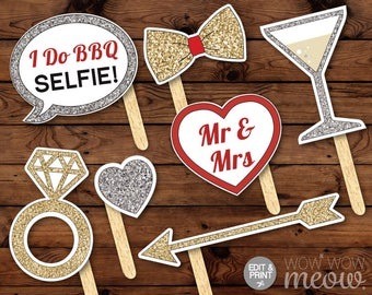 Over 45 Photo Booth Props PRINTABLE I Do BBQ Engagement Couple's Shower Party Instant Download Editable Cards Selfie Wedding Rings Mr & Mrs