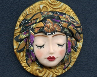 Face cab with abstract Caned hat   OOAK Polymer clay Detailed  ANGOG 10
