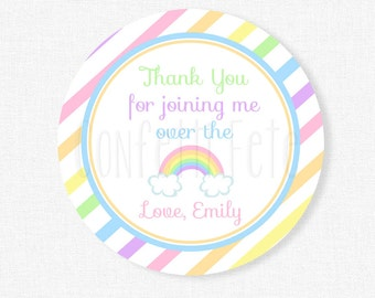 Rainbow Party Favors, Pastel Rainbow Favor Tags, Rainbow Gift Tags, Rainbow Birthday, Over the Rainbow Party, Personalized
