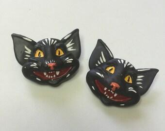 Vintage halloween cat pin