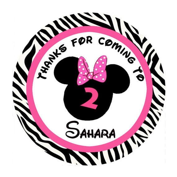 MINNIE MOUSE pink zebra print round sticker Birthday label Circle
