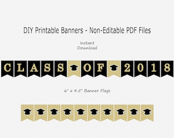 Class Of 2018 Banner - Black & Gold Glitter - Grad Hat - Graduation Party - PRINTABLE - INSTANT DOWNLOAD