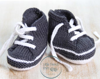 Baby Sneakers / Knitting Pattern Baby Instructions in English Instant Digital Download PDF / Size Newborn - 3 months