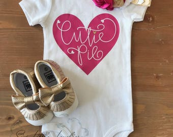 Cutie Pie Onesie/Valentine's Day Onesie T-Shirt/Baby Girl Onesie/Multiple Sizes Available