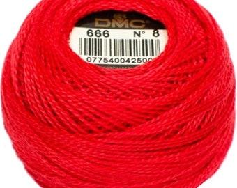 DMC 666 Perle Cotton Thread | Size 8 | Bright Red