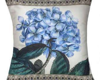 """Blue Hydrangea 16'x16"""" pillow with blue ticking stripe backing"""